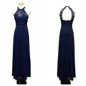 Lulus Formal Halter Lace Top Open Back Navy Dress